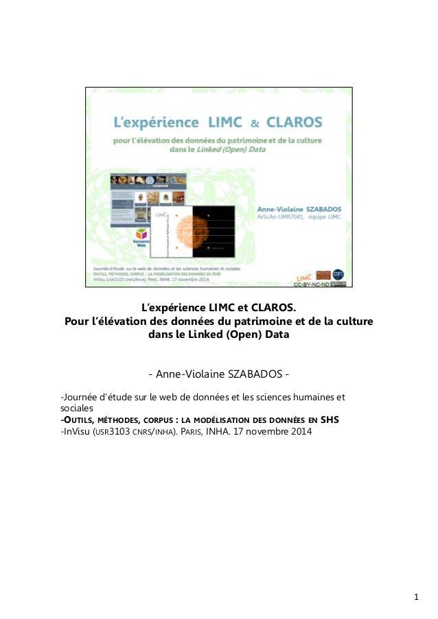 L'expérience LIMC et CLAROS.  Pour l'élévation des données du patrimoine et de la culture  dans le Linked (Open) Data  - A...