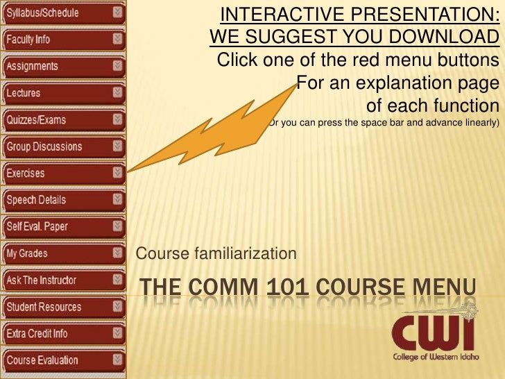 INTERACTIVE PRESENTATION:           WE SUGGEST YOU DOWNLOAD           Click one of the red menu buttons                   ...