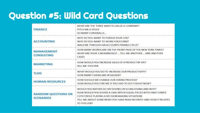 Question #5: Wild Card Questions ...