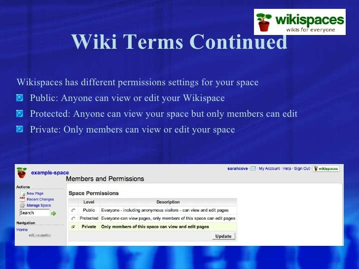 Wiki Terms Continued <ul><li>Wikispaces has different permissions settings for your space </li></ul><ul><li>Public: Anyone...