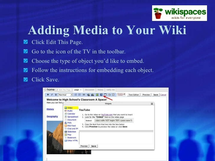 Adding Media to Your Wiki <ul><li>Click Edit This Page. </li></ul><ul><li>Go to the icon of the TV in the toolbar. </li></...