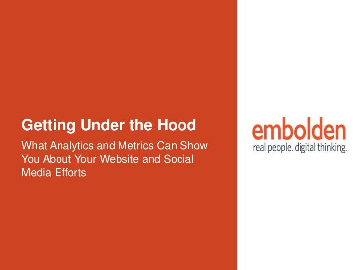 Getting Under the HoodWhat Analytics and Metrics Can ShowYou About Your Website and SocialMedia Efforts