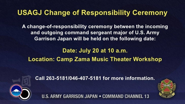 USAGJ Change of Responsibility Ceremony A change-of-responsibility ceremony between the incoming    and outgoing command s...