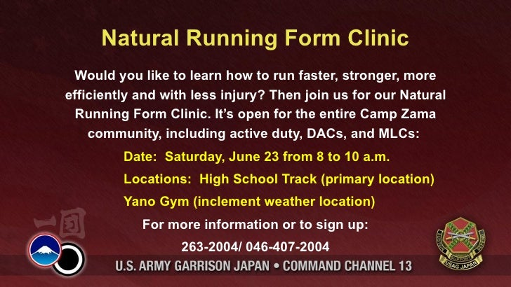 Natural Running Form Clinic Would you like to learn how to run faster, stronger, moreefficiently and with less injury? The...