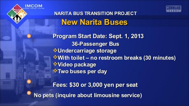 NARITA BUS TRANSITION PROJECTNARITA BUS TRANSITION PROJECT New Narita BusesNew Narita Buses Program Start Date: Sept. 1, 2...