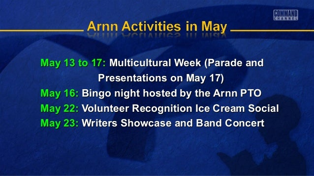 May 13 to 17:May 13 to 17: Multicultural Week (Parade andMulticultural Week (Parade andPresentations on May 17)Presentatio...