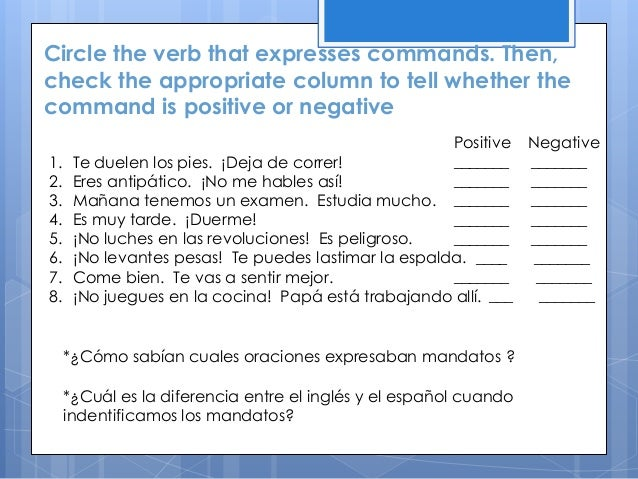 Circle the verb that expresses commands. Then, check the appropriate column to tell whether the command is positive or neg...