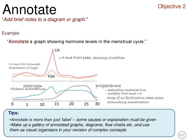 """Objective 2Annotate""""Add brief notes to a diagram or graph.""""Example:  """"Annotate a graph showing hormone levels in the menst..."""