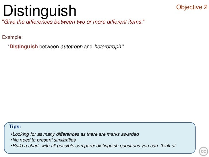 """Objective 2Distinguish""""Give the differences between two or more different items.""""Example:  """"Distinguish between autotroph ..."""