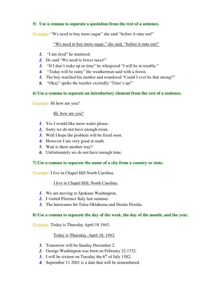 Commas Worksheet – Commas Worksheet