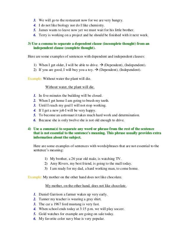 Commas Worksheet 1