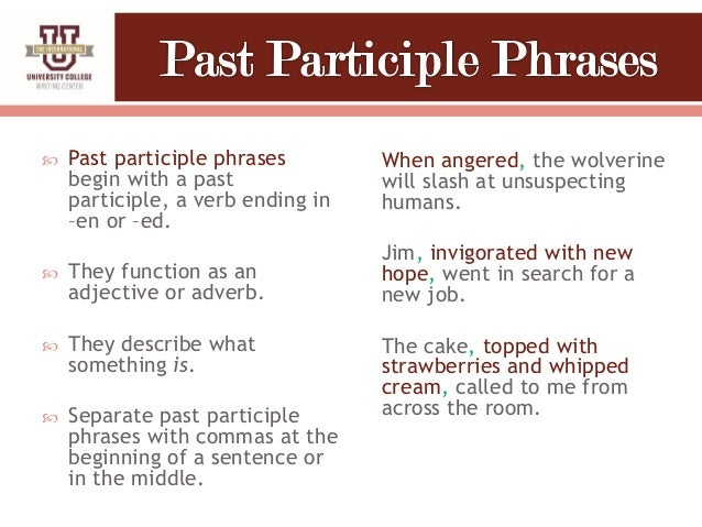 Participles and participial phrase ppt video online download.
