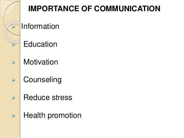the role of communication in health care