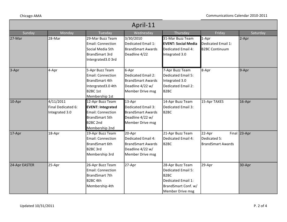Communications Calendar 2011 Spring