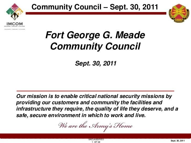 Fort George G. Meade<br />Community Council<br />Sept. 30, 2011<br />