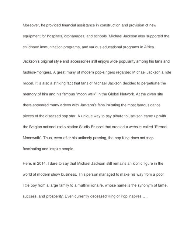 Commemorative anniversary speech michael jackson sample paper ess – Figure of Speech Example Template