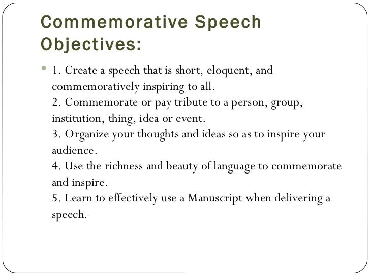 Commemorative speech examples