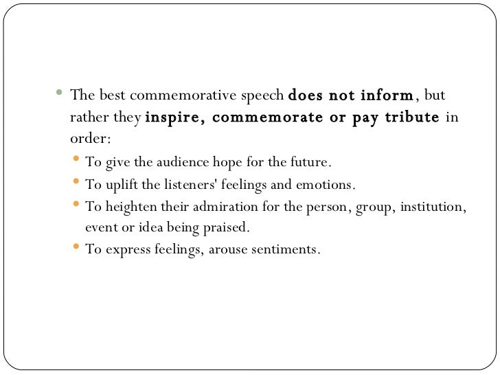 commemorative speech topics