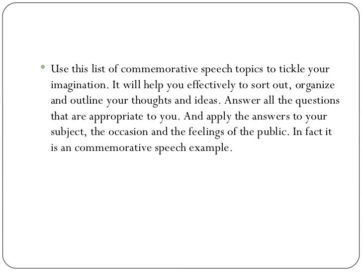 Commemorative Speech Template – Ceremonial Speech Example Template