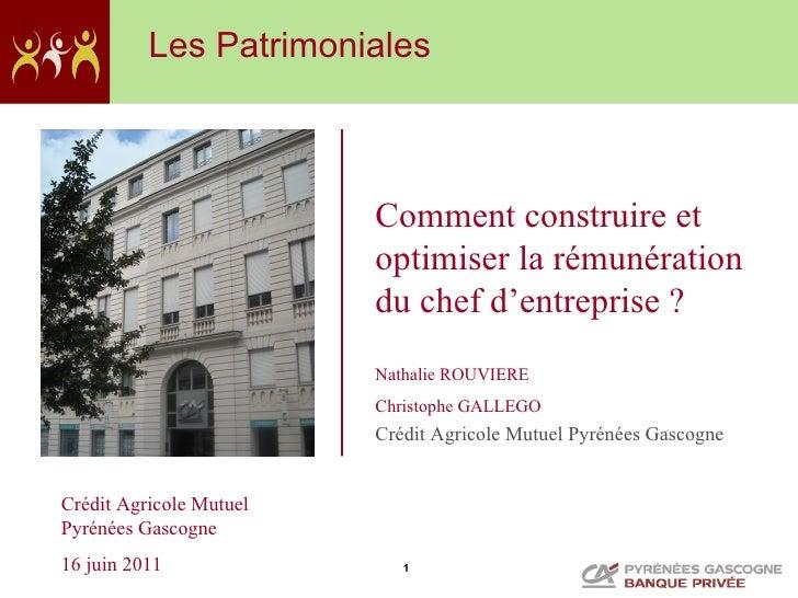Les Patrimoniales                         Comment construire et                         optimiser la rémunération         ...