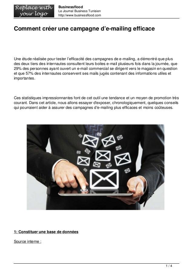 Businessflood  Le Journal Business Tunisien  http://www.businessflood.com  Comment créer une campagne d'e-mailing efficace...