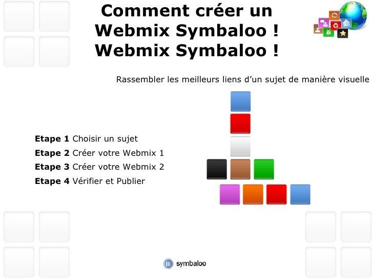 Comment créer un Webmix Symbaloo ! <ul><li>Etape 1  Choisir un sujet </li></ul><ul><li>Etape 2  Créer votre Webmix 1 </li>...