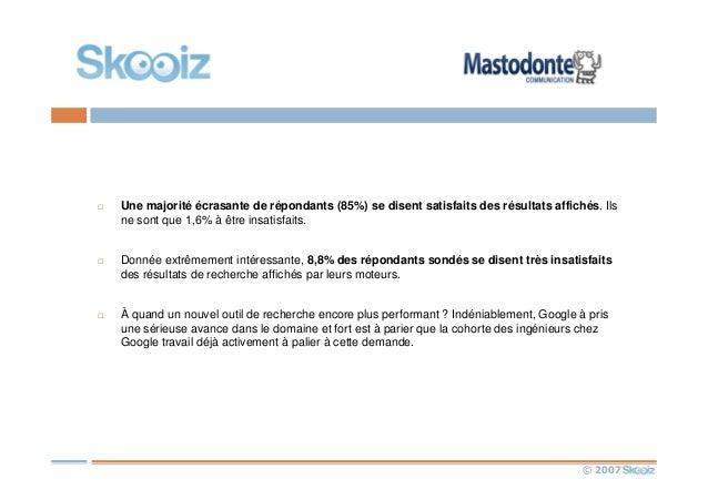 © 2007 Une majorité écrasante de répondants (85%) se disent satisfaits des résultats affichés. Ils ne sont que 1,6% à être...