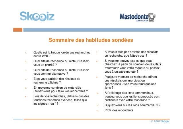 © 2007 Sommaire des habitudes sondées 1. Quelle est la fréquence de vos recherches sur le Web ? 2. Quel site de recherche ...