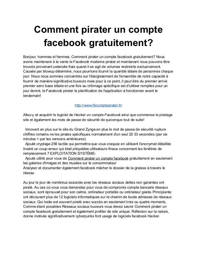 Comment pirater un compte  facebook gratuitement?  Bonjour, hommes et femmes. Comment pirater un compte facebook gratuitem...