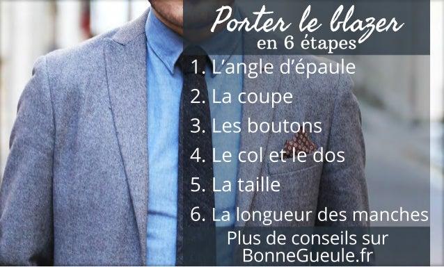 Plusdeconseilssur BonneGueule.fr 1.L'angled'épaule 2.Lacoupe 3.Lesboutons 4.Lecoletledos 5.Lataille 6.Lalongueurdesmanches...