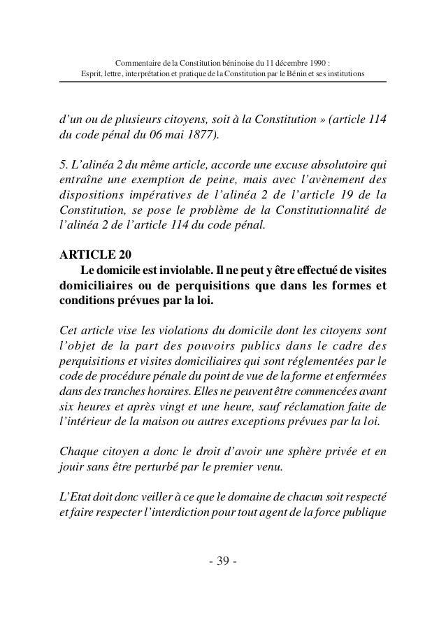 Commentaire de la const du b nin fka - Coups et blessures volontaires code penal ...