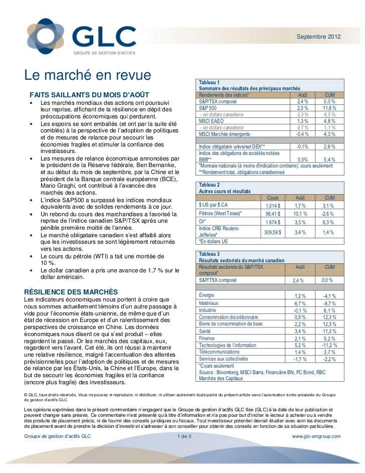 Septembre 2012Le marché en revue                                                                               Tableau 1  ...