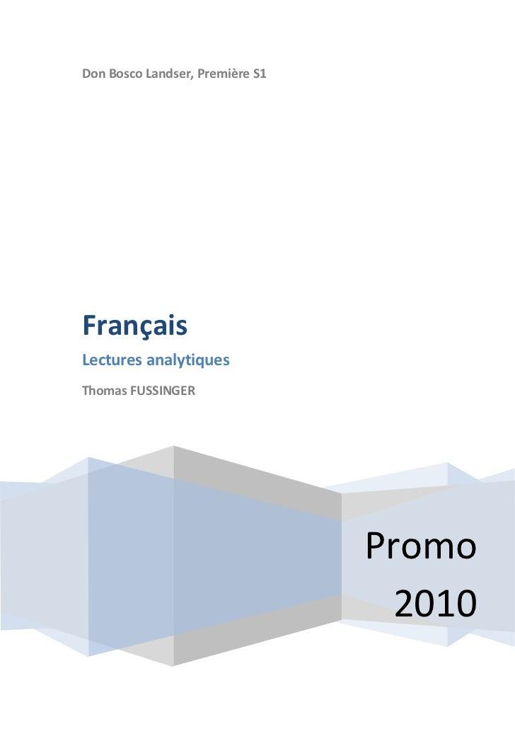 Don Bosco Landser, Première S1     Français Lectures analytiques Thomas FUSSINGER                                      Pro...