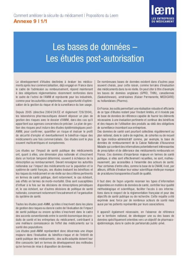 Les bases de données – Les études post-autorisation Comment améliorer la sécurite du médicament | Propositions du Leem Ann...