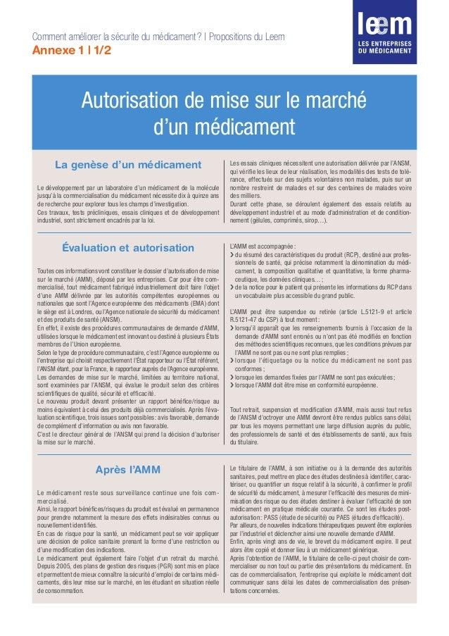 Autorisation de mise sur le marché d'un médicament Comment améliorer la sécurite du médicament? | Propositions du Leem An...