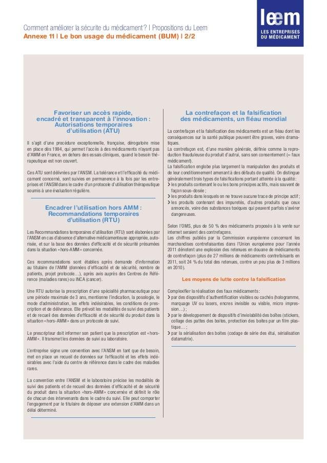 Comment améliorer la sécurite du médicament? | Propositions du Leem Annexe 11 | Le bon usage du médicament (BUM) | 2/2 Fa...