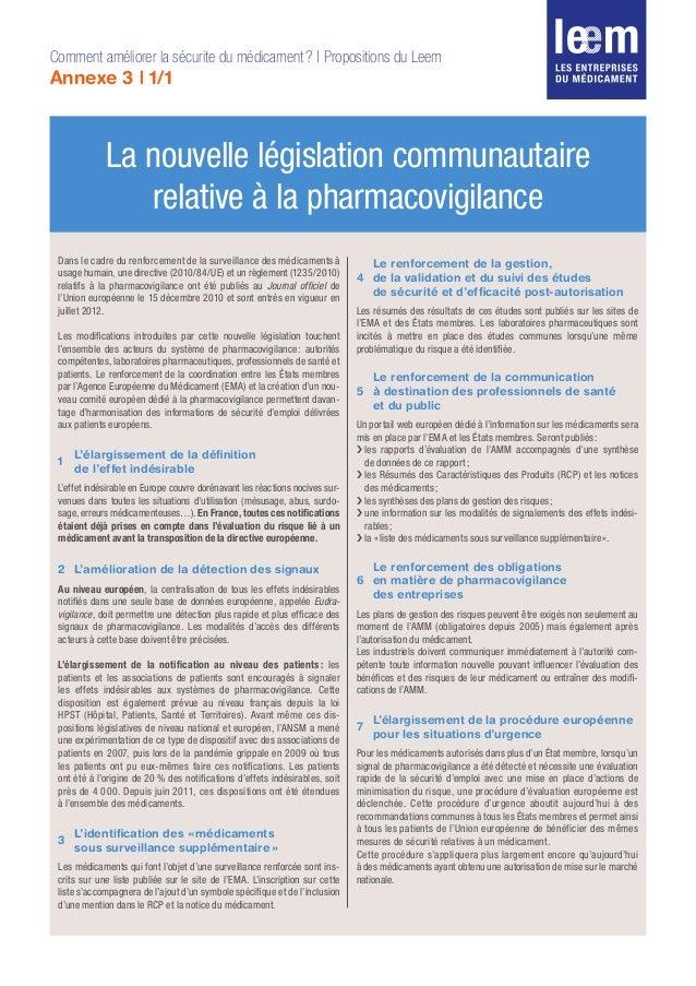 Dans le cadre du renforcement de la surveillance des médicaments à usage humain, une directive (2010/84/UE) et un règlemen...