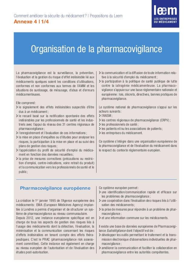 Organisation de la pharmacovigilance Comment améliorer la sécurite du médicament? | Propositions du Leem Annexe 4 | 1/4 L...