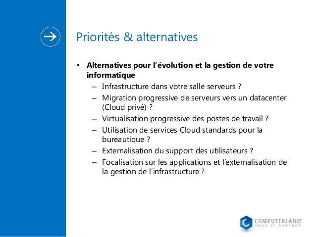 Priorités & alternatives • Alternatives pour l'évolution et la gestion de votre informatique – Infrastructure dans votre s...