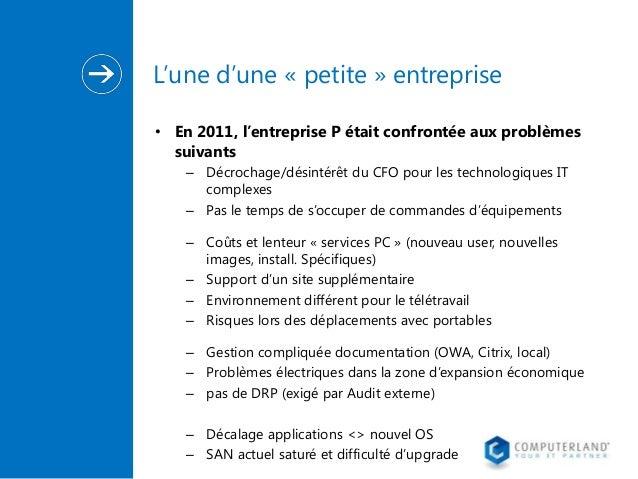 L'une d'une « petite » entreprise • En 2011, l'entreprise P était confrontée aux problèmes suivants – Décrochage/désintérê...