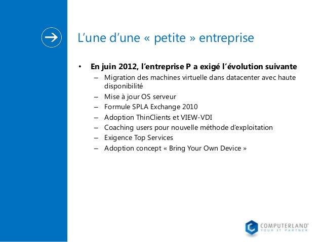 L'une d'une « petite » entreprise •  En juin 2012, l'entreprise P a exigé l'évolution suivante – Migration des machines vi...