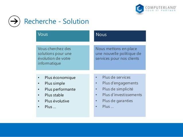 Recherche - Solution Vous  Nous  Vous cherchez des solutions pour une évolution de votre informatique  Nous mettons en pla...