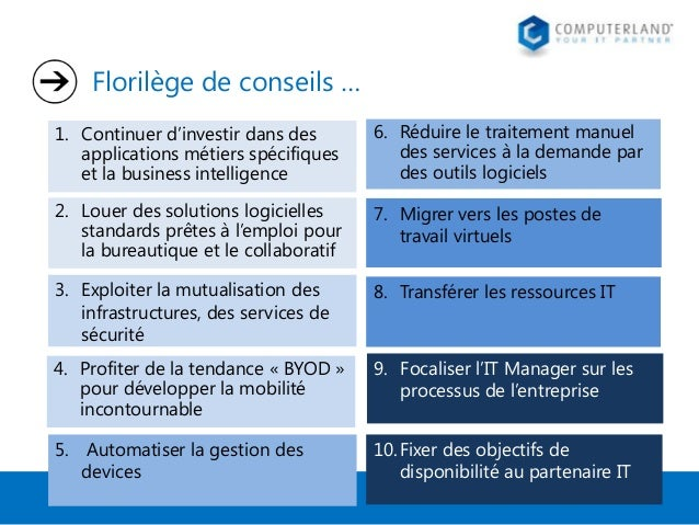 Florilège de conseils … 1. Continuer d'investir dans des applications métiers spécifiques et la business intelligence  6. ...