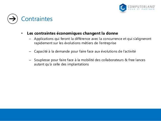 Contraintes •  Les contraintes économiques changent la donne – Applications qui feront la différence avec la concurrence e...