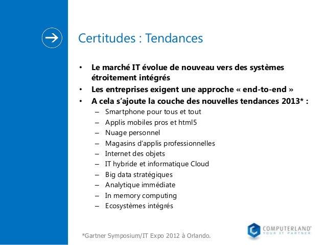 Certitudes : Tendances • • •  Le marché IT évolue de nouveau vers des systèmes étroitement intégrés Les entreprises exigen...