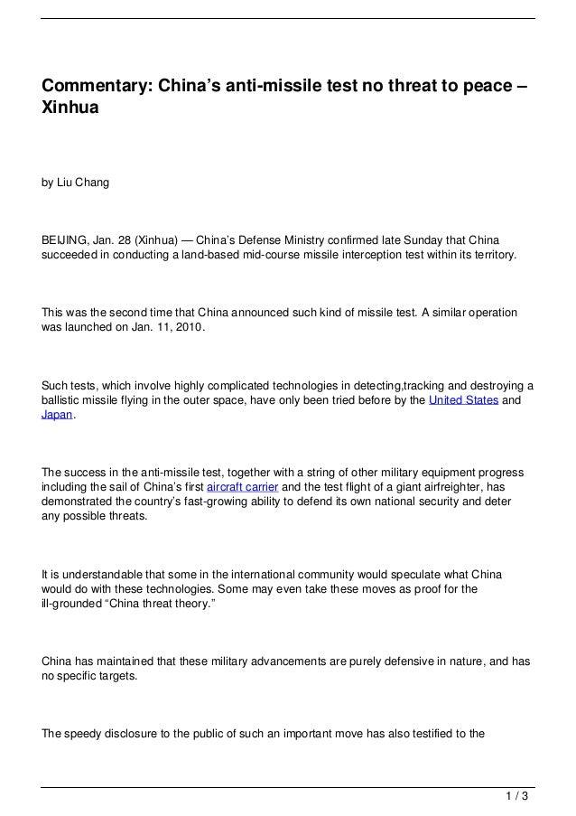 Commentary: China's anti-missile test no threat to peace –Xinhuaby Liu ChangBEIJING, Jan. 28 (Xinhua) — China's Defense Mi...