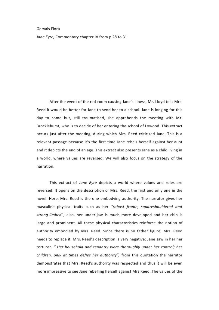 Gervais Flora Jane Eyre, Commentary chapter IV from p 28 to 31            After the event of the red-room causing Jane's i...