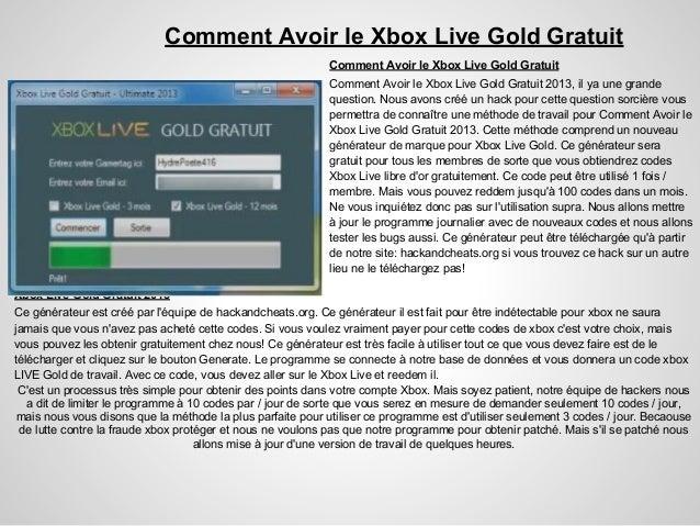 Comment Avoir le Xbox Live Gold GratuitComment Avoir le Xbox Live Gold GratuitComment Avoir le Xbox Live Gold Gratuit 2013...