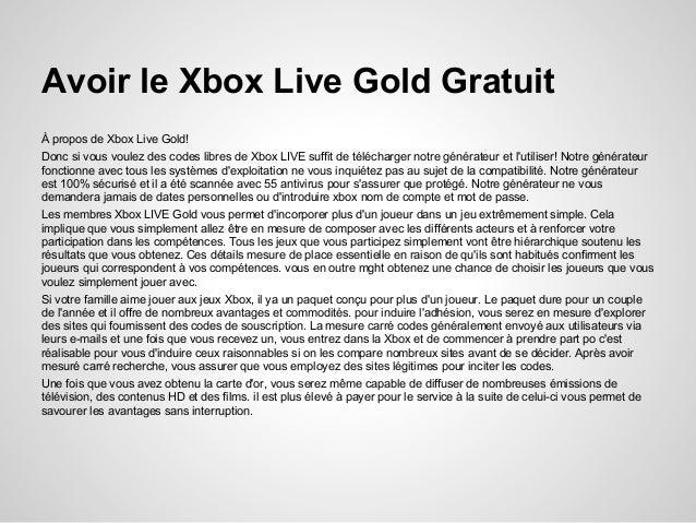Code xbox live gold gratuit