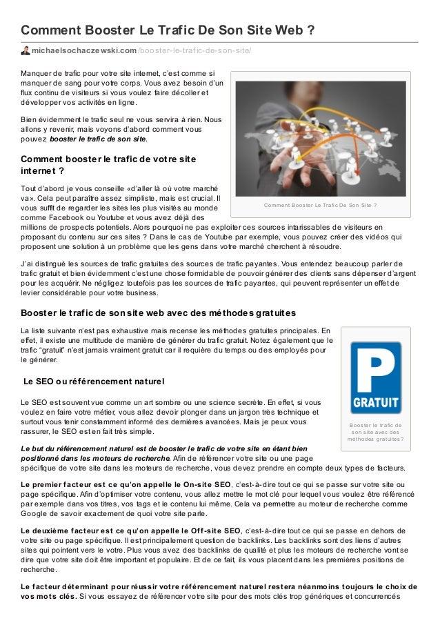 Comment Booster Le Trafic De Son Site Web ? michaelsochaczewski.com /booster-le-traf ic-de-son-site/ Manquer de trafic pou...